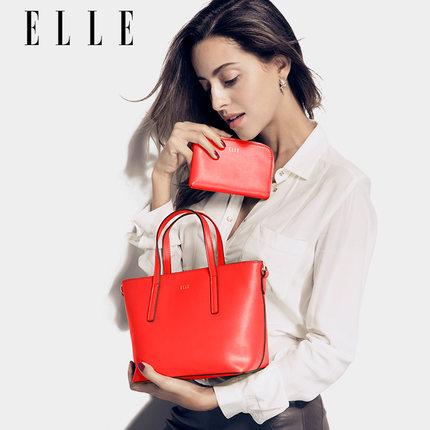 ELLE女包新款牛皮手提包 单肩包斜挎包 1