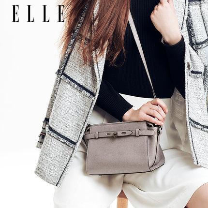 ELLE女包十字纹牛皮单肩包斜挎包 1